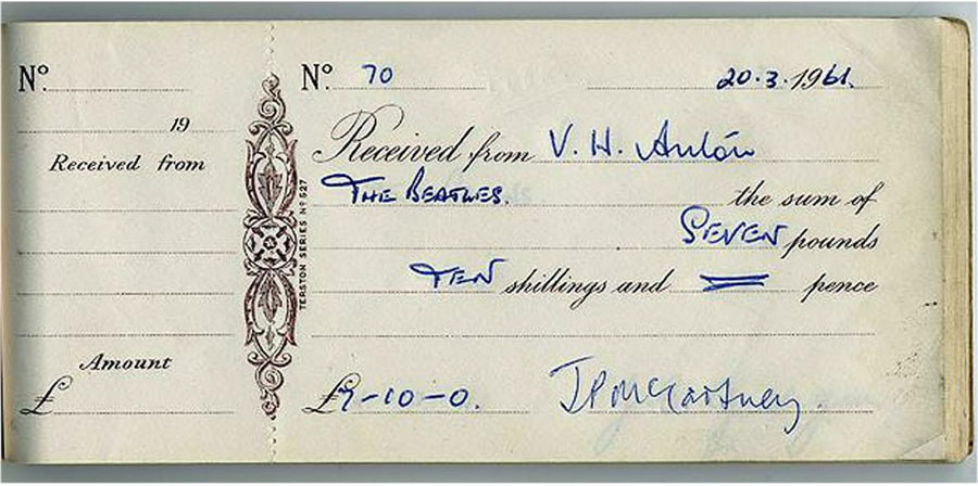 here is the cover of the receipt book that contains the john lennon and paul mccartney signed pay receipts